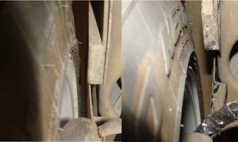 Side by side shots of the clearance I was able to create by removing the foam padding behind the fender liner.